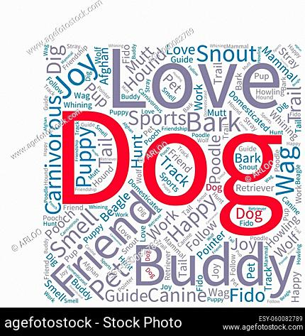 Dog word cloud on a white background