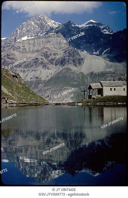 Chapel and Mountain Reflection in Schwarzsee, Zermatt, Switzerland, 1964