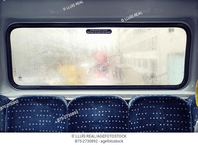 Rear window of bus. London, England