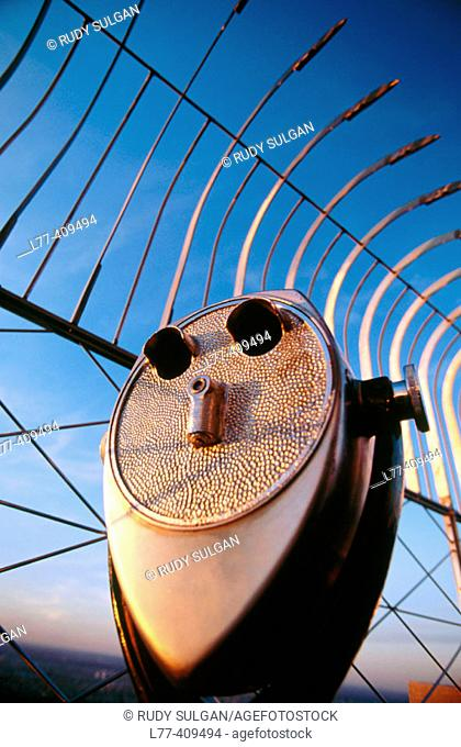Coin-operated binocular on observation deck of the Empire State building, New York City. USA