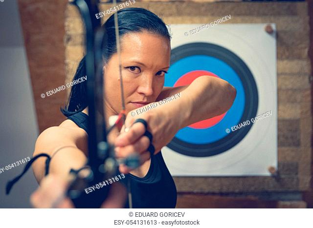 sports archery at the shooting range, competition for the most points