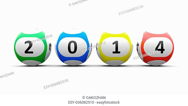 Lottery balls on a white table represents the new 2014, three-dimensional rendering