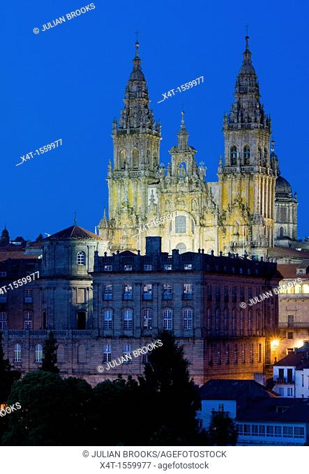 Night scene, Skyline of Santiage de Compostela with lit cathedral