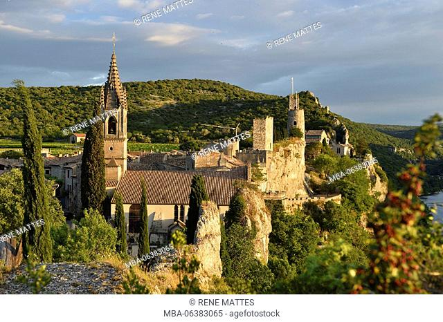 France, Gard, Aigueze, labelled Les Plus Beaux Villages de France (The Most Beautiful Villages of France), Medieval village perched above the Ardeche river