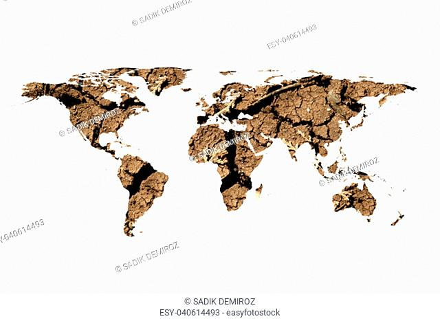 conceptual image of dried soil in flat world map