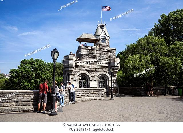 Beautiful view of Belvedere Castle, Central Park urban park in middle-upper Manhattan, within New York City., USA