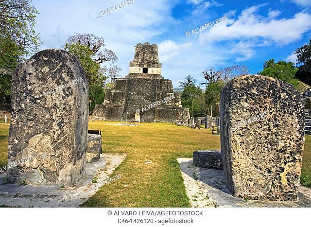 Temple II  Mayan ruins of Tikal  Peten region, Guatemala