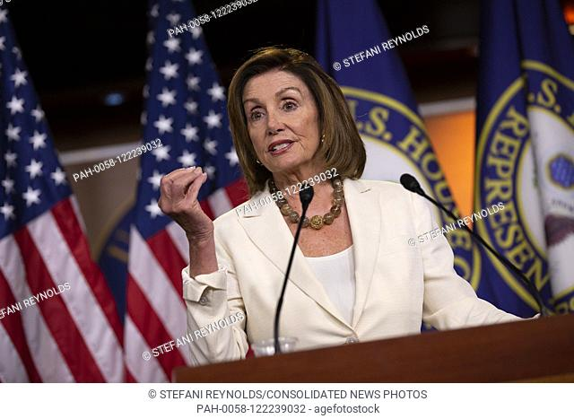 Speaker of the United States House of Representatives Nancy Pelosi (Democrat of California) holds her weekly press conference on Capitol Hill in Washington D