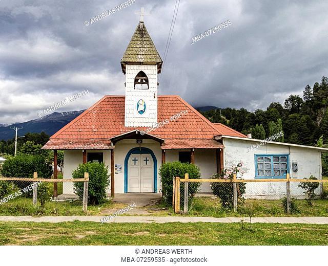 Church with satellite antenna, padre Ronchi, village Puerto Rio Tranquilo near marmor caves, Aysen region, Patagonia, Chile