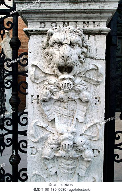 Close-up of the sculpture of a lion on a wall, Venice, Veneto, Italy