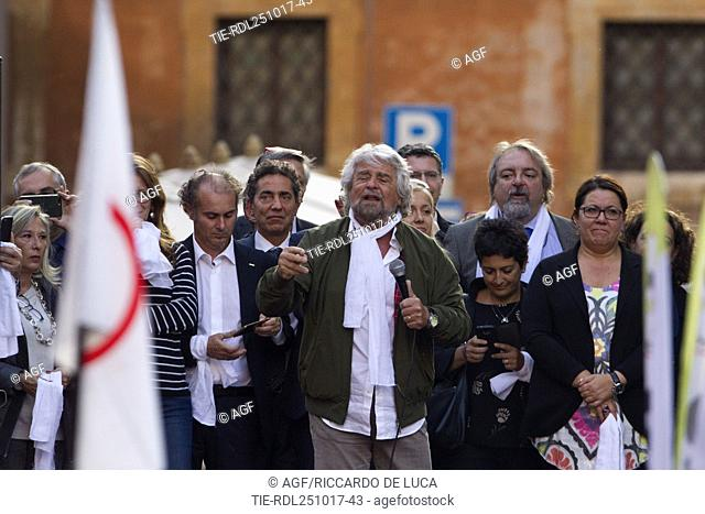 Five-Star Movement (M5S) founder Beppe Grillo takes part in a demonstration after the government put the bill for a new election law ,Pantheon, Rome