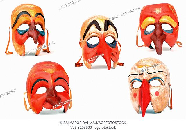 variety of cardboard paper masks,studio photography of girona,catalonia,spain,