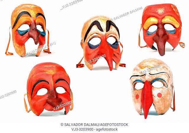 variety of cardboard paper masks,studio photography of girona,catalonia,spain,