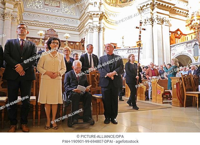 01 September 2019, Berlin: Andrzej Przylebski (l-r), Polish Ambassador to Germany, Sejmmarschallin Elzbieta Witek, Chairwoman of the Lower House of the Polish...
