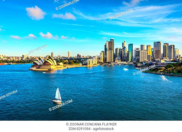 View on Sydney skyline with Opera house and Circular quay