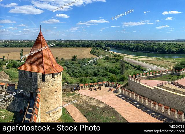 Fortress walls and towers of theTighina Fortress in Bender, Transnistria or Moldova, on a sunny summer day