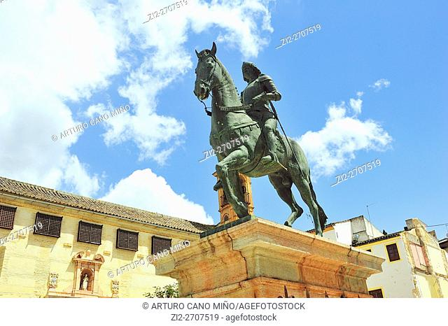The sculpture of the Infante Don Fernando in the Square of Coso Viejo. Antequera, Málaga province, Spain