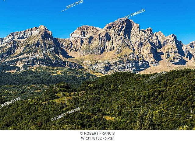 From left, peaks of Corona de Mallo, Parad 2764m and Telera on right, seen from Panticosa, Upper Tena Valley, Pyrenees, Huesca, Spain, Europe