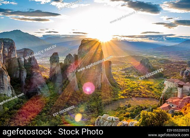 Greece. Meteora. Monasteries on the rocks, listed by UNESCO. Summer sunset