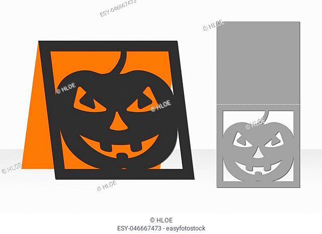 Card Halloween pumpkin for laser cutting. Silhouette design. Vector illustration