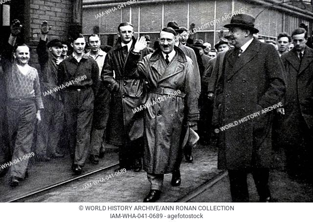 Adolf Hitler 1889-1945. German politician greets German labourers