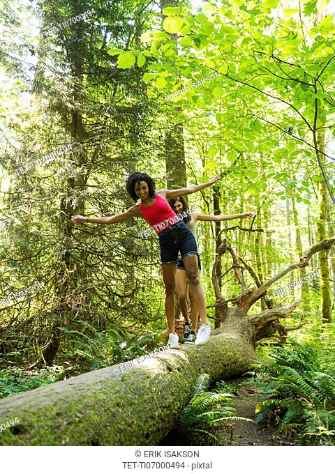 Two young women walking on log in forest