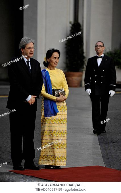 Italian Prime Minister Paolo Gentiloni meets Aung San Suu Kyi, State Councilor and Minister of Foreign Affairs of Myanmar, Rome 04/05/2017