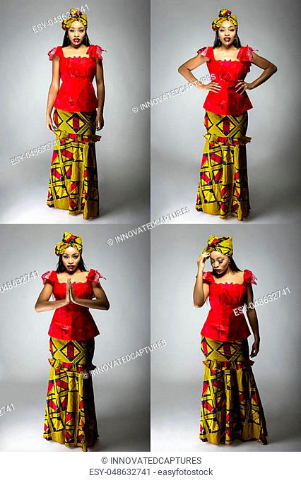 Series of Black female showing african pride by wearing a traditional Nigerian dress and head scarf with tribal face markings or cosmetic makeup