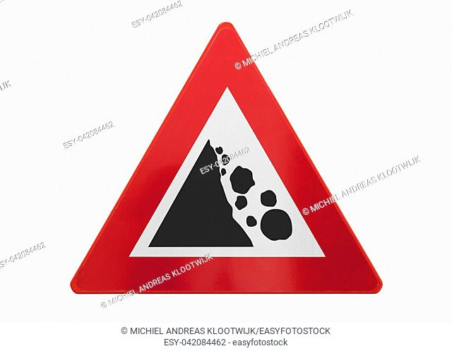 Traffic sign isolated - Falling rocks - On white