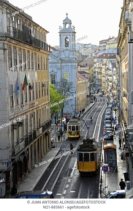 Rua de Sao Paulo where we can see the church of the same name. Lisbon, Portugal