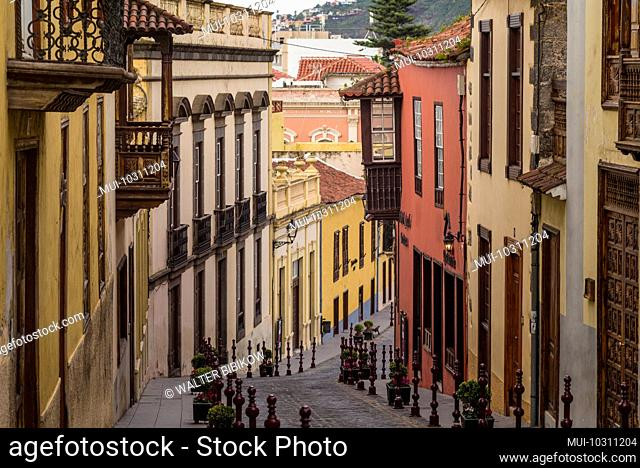 Spain, Canary Islands, Tenerife Island, La Orotava, street detail