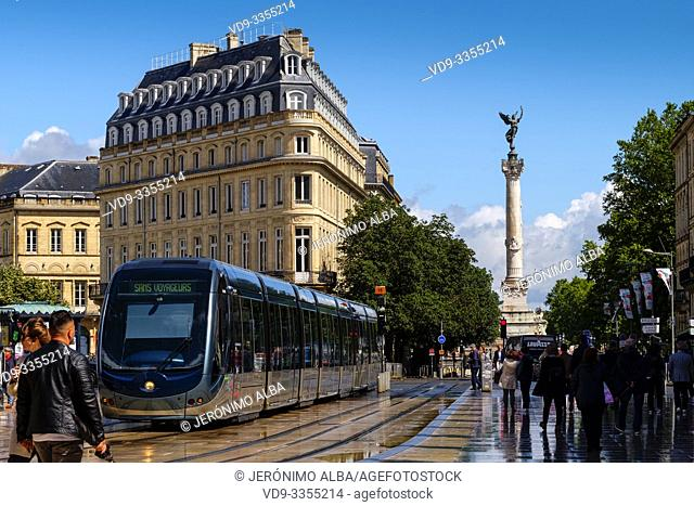 Place of the Comedie and tram. Bordeaux, Gironde. Aquitaine region. France Europe