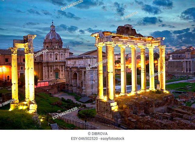 Roman Forum in Rome at dusk, Italy