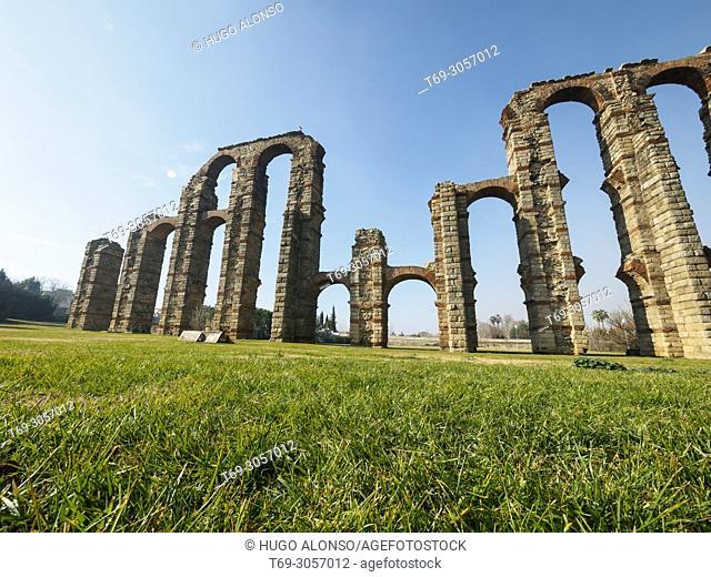 Los Milagros. Roman Aqueduct of Merida, Extremadura, Spain, Europe