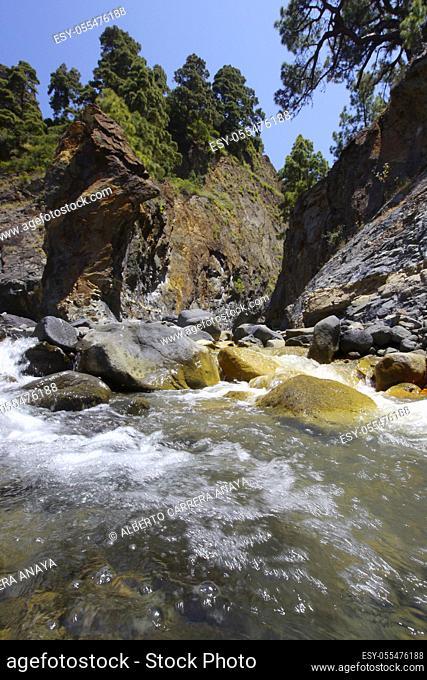 Dos Aguas, Barranco de las Angustias, Taburiente River, Barranco Almendro Amargo, Caldera de Taburiente National Park, Biosphere Reserve, ZEPA, LIC, La Palma