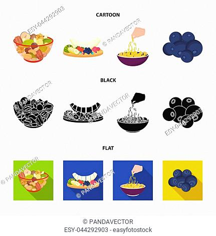 Assorted nuts, fruits and other food. Food set collection icons in cartoon, black, flat style bitmap symbol stock illustration