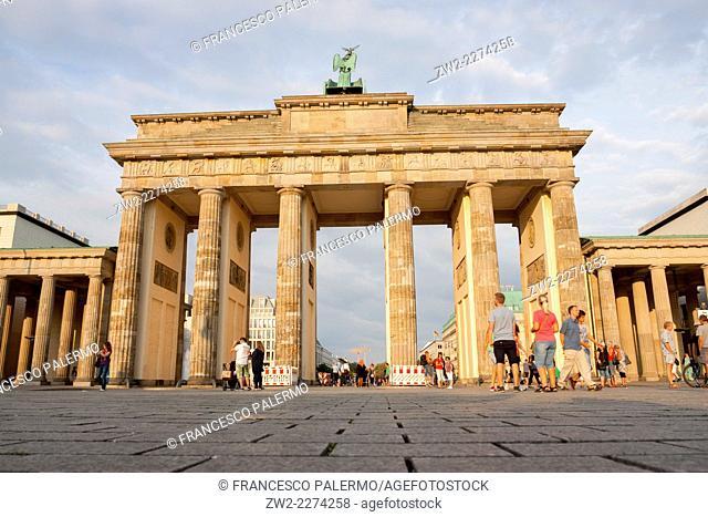 The Brandenburg Gate at afternoon of summer time 2014. Berlin, Berlin-Brandenburg. Germany