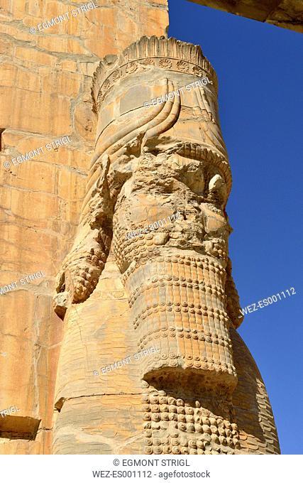 Iran, Achaemenid archeological site of Persepolis, Propylon, Gate of all Nations
