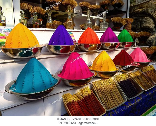 colourful powders at market in kochi, kerala, india