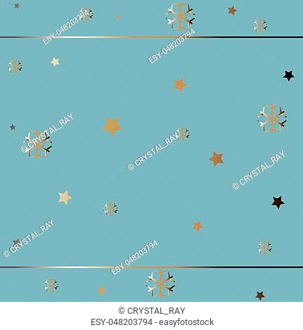 Gold and Silver Frame. For Cards, postcards, backgrounds, etc. Winter Holiday, Christmas Themes. Vector Illustration