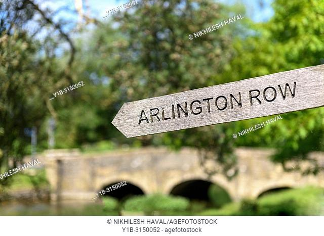 Arlington Row sign, Bibury, Cotswolds, UK