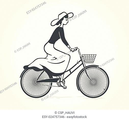 lady ride a vintage bicycle