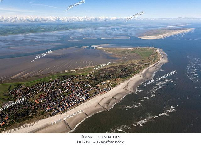 Aerial of North Sea islands, Wangerooge and Spiekeroog with the mainland in the background, Lower Saxony, Germany