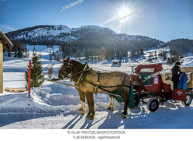 Sleigh in a Winter Landscape in Val Fex in the Engadine, Grisons, Switzerland