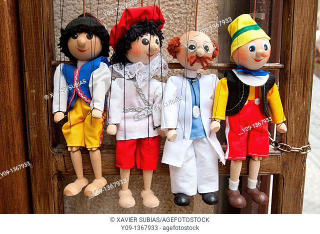 Souvenir,Tipical marionettes hanging from their threads, Prague, Czech Republic