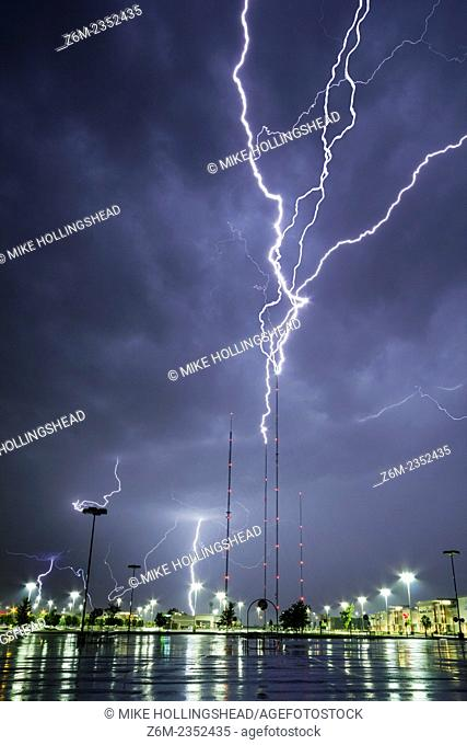 Lightning rises from tv towers in north Omaha