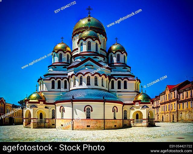 Exterior view to New Athos aka Novy Afon monastery in Abkhazia, Georgia