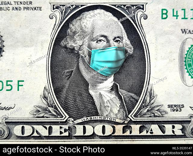 Concept of Coronavirus Crisis and its affect on the world wconomy. COVID-19 coronavirus in USA, 1 dollar money bill with face mask