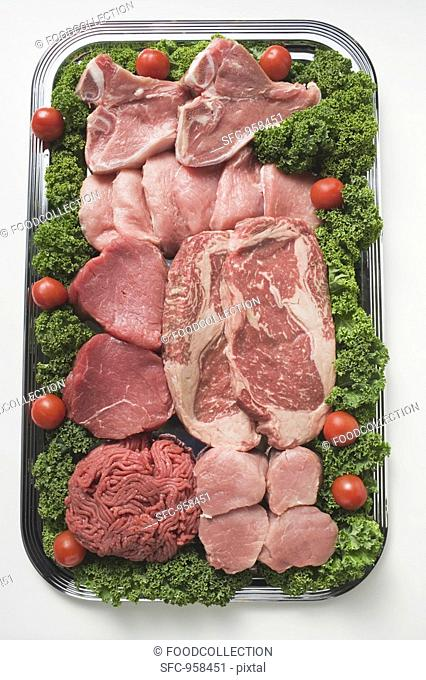 Various types of meat on tray