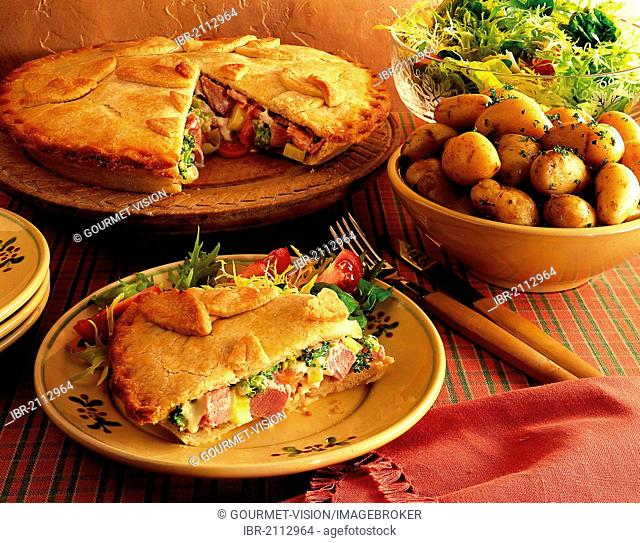 Ham and carrot pie, pastry filled with carrots, broccoli, ham and processed cheese, USA